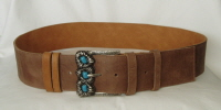 60mm Wide Pale Brown & Light Tan Reversible Leather Belt