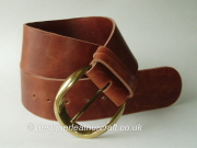 Cognac Waxy Finish Leather Belt with Vintage Buckle - 62mm - 45 inch