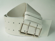 Second - Wide Creamy White Leather Belt with Double Prong Roller Buckle - 80mm - 42 inch 14 inches from tip