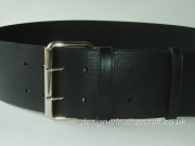 Wide Black Leather Belt with Double Prong Roller Buckle - 80mm - 44 inch