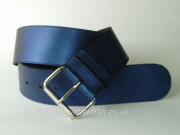 Wide Blue Leather Belt with Roller Buckle - 60mm - 46 inch