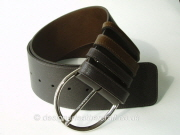 Wide Brown Reversible Leather Belt - 70mm - 42