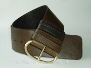 Wide Brown Reversible Leather Belt with Vintage Brass Buckle - 75mm - 41