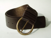 Wide Brown and Bronze Reversible Leather Belt - 70mm - 45 inch