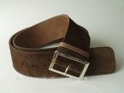 Wide Dark Taupe Suede and Leather Reversible  Belt - 60mm - 46 inch