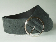 Wide Grey Suede and Leather Reversible  Belt - 60mm - 46 inch