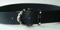 Wide Leather Belt in Black with Vintage Diamante Buckle -  60mm - 46 inch