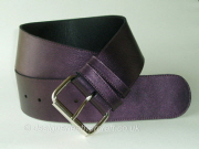 Wide Mauve Leather Belt with Roller Buckle - 60mm - 48 inch