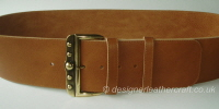 Wide Reversible Leather Belt in Tan with Vintage Buckle - 80mm - 46