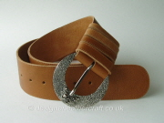 Wide Tan Reversible Leather Belt with Vintage Flower Buckle - 60mm - 43 inch
